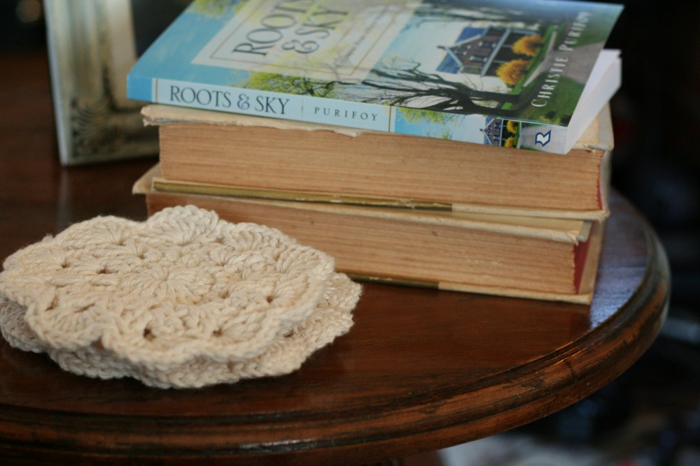 Crochet coasters and book