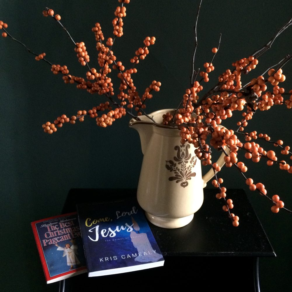 Orange Winterberries and Books
